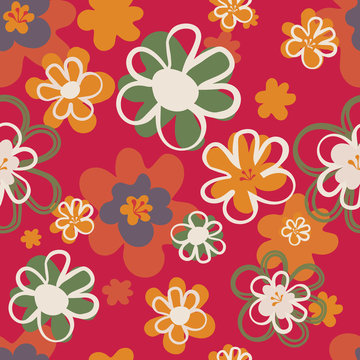Pretty floral seventies seamless pattern in red, orange and green. Layered  flower blooms in a lively all over print. Great for textiles, home decor, stationery, paper goods and fashion use. Vector.
