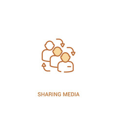 sharing media concept 2 colored icon. simple line element illustration. outline brown sharing media symbol. can be used for web and mobile ui/ux.
