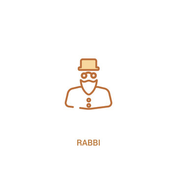 rabbi concept 2 colored icon. simple line element illustration. outline brown rabbi symbol. can be used for web and mobile ui/ux.