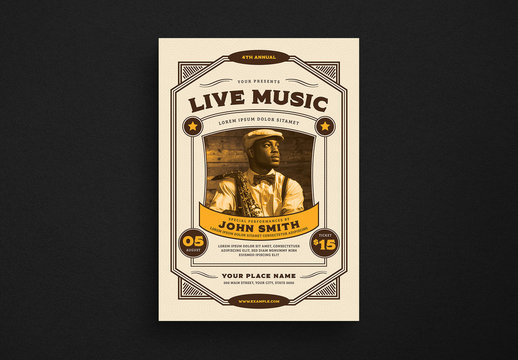 Vintage Live Music Event Flyer Layout
