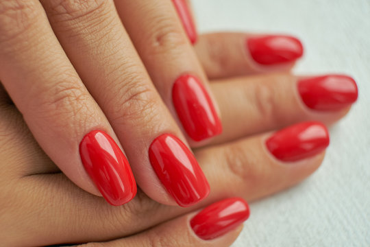perfect red manicure. nail and hand care in the salon