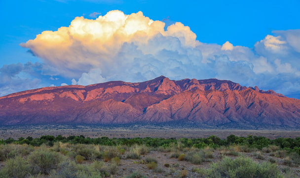 Sandia Mountains at sunset in central New Mexico