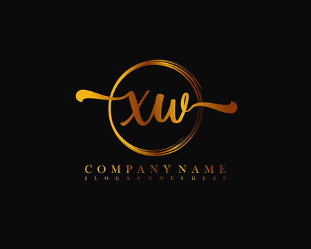 XW Initial handwriting logo with circle hand drawn template vector