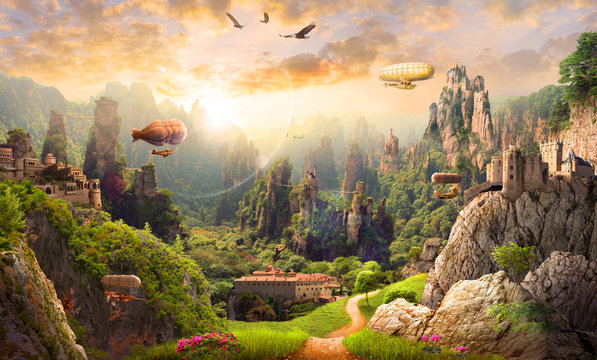 Mural on the wall of a magical country with airships, an old estate