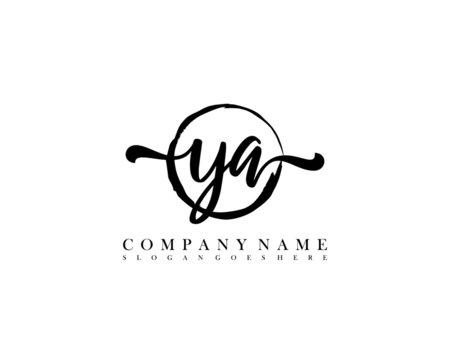 YA Initial handwriting logo with circle hand drawn template vector