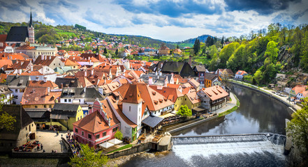 The amazing city of Cesky Krumlov in the Czech Republic. European historical center and splendor.