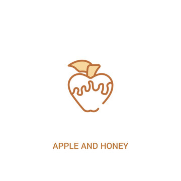apple and honey concept 2 colored icon. simple line element illustration. outline brown apple and honey symbol. can be used for web and mobile ui/ux.