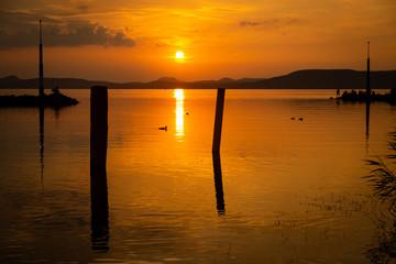 beautiful sunset at lake Balaton