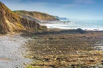 View of Childspit beach near Hartland Quay in North Devon Coast AONB. Copy space in sky.