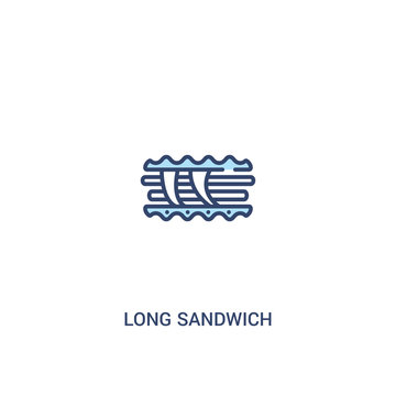 long sandwich concept 2 colored icon. simple line element illustration. outline blue long sandwich symbol. can be used for web and mobile ui/ux.