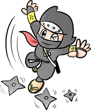 Ninja throwing shuriken