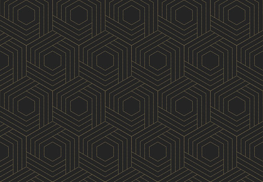 Seamless striped wicker pattern. Dark and gold texture. Repeating geometric background. Striped hexagonal grid. Linear graphic design