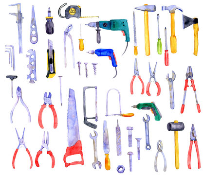 watercolor drawing pliers