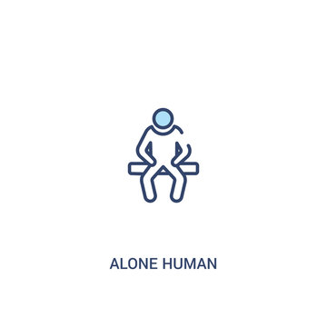 alone human concept 2 colored icon. simple line element illustration. outline blue alone human symbol. can be used for web and mobile ui/ux.