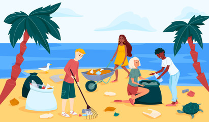 Beach or coastal cleanup in trendy flat style drawing. Group of young people cleaning waterfront from plastic garbage.