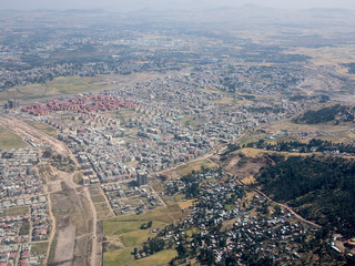 Aerial view of the sprawling city of Addis Ababa, Ethiopia.