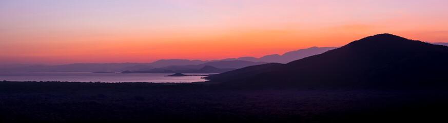 Panorama of Nechisar national Park and Abaya Lake near Arba Minch in Ethiopia.