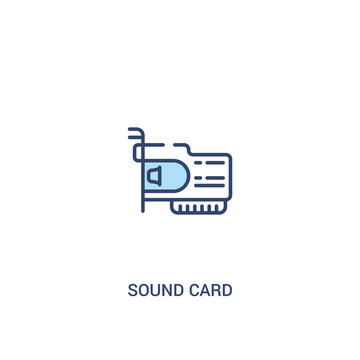 sound card concept 2 colored icon. simple line element illustration. outline blue sound card symbol. can be used for web and mobile ui/ux.