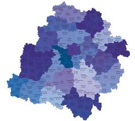 Fototapeta Województwo łódzkie z kodami pocztowymi i podziałami na gminy i powiaty obraz