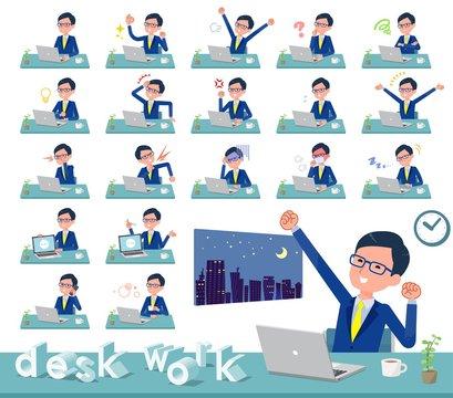 flat type glasses Honest man_desk work
