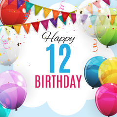 Cute Template 12 Years Anniversary. Group of Colour Glossy Helium Balloons Background. Vector Illustration