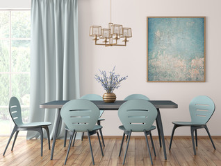 Interior of modern dining room 3d rendering