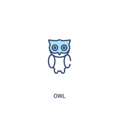 Canvas Prints Owls cartoon owl concept 2 colored icon. simple line element illustration. outline blue owl symbol. can be used for web and mobile ui/ux.