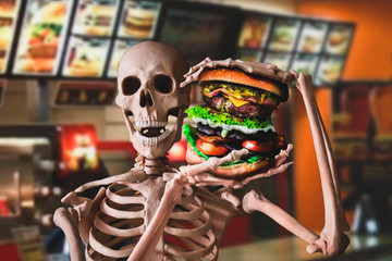 junk food and unhealthy lifestyle concept