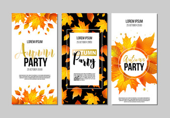 Set of Autumn Party flyer template with lettering, orange leaves. Poster, banner, card, label, and other design. Vector illustration