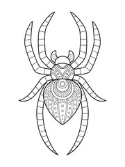 Adult coloring page a cute spider for halloween.