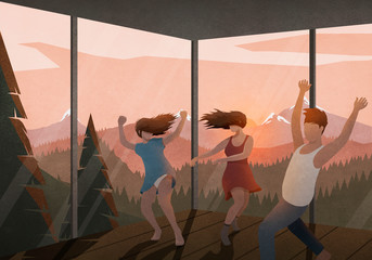 Carefree friends dancing in house with sunset mountain view