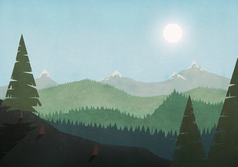 Sun shining over idyllic mountain and forest landscape