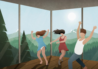 Carefree friends dancing in glass house with sunny mountain and forest view