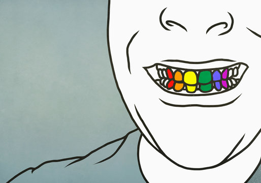 Close up man with toothy smile showing rainbow teeth