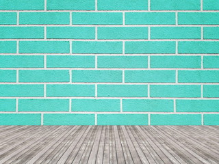 Empty new brick wall interior. Turquoise background