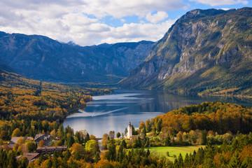 Lake Bohinj landscape in autumn in Slovenia