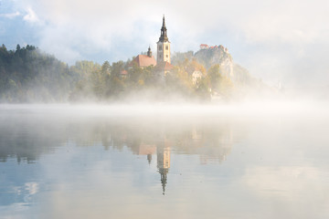 Fog over the water at Bled Lake