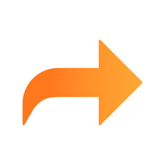 Right orange curved arrow flat design long shadow color icon. Direction forward curve. Motion pointer. Navigation arrowhead. Pointing cursor. Indicator, designator. Vector silhouette illustration
