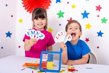 Preschool and elementary school learn english alphabet, colors, shapes. English learning for kids