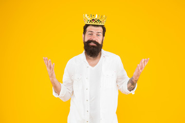 King crown. Egoist selfish man. Bearded man in white clothes. Superiority complex. Narcissistic person. Love yourself. Sense of self importance. Responsibility being king. Handsome bearded guy king Fototapete