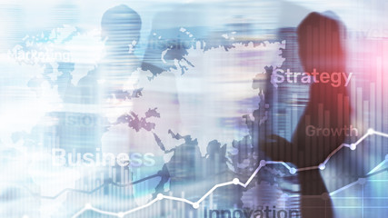 Business abstract background double exposure graph, chart and diagram. World wide map and. Global...
