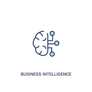 business intelligence concept 2 colored icon. simple line element illustration. outline blue business intelligence symbol. can be used for web and mobile ui/ux.