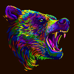 Bear. Abstract multi-colored portrait of a angry bear on a brown background.