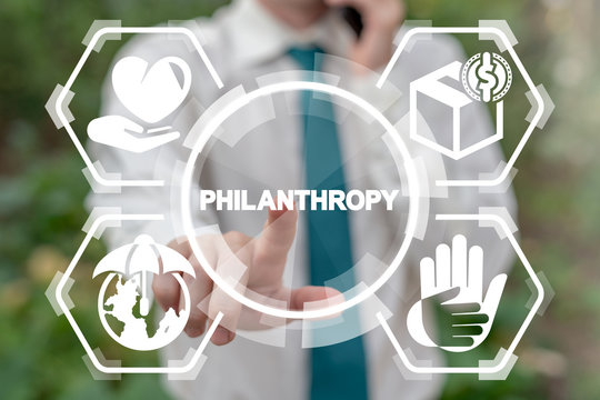 Philanthropy and Voluntary Charity concept. Love of humanity as nonprofit social teamwork. Support contribution, generosity gifts and abstract public good improvement.