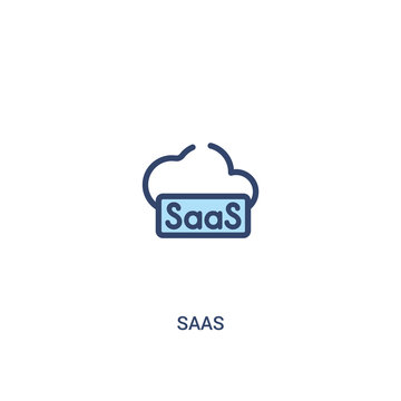 saas concept 2 colored icon. simple line element illustration. outline blue saas symbol. can be used for web and mobile ui/ux.