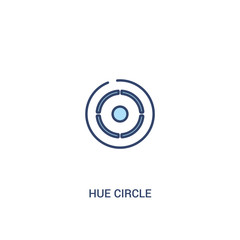 hue circle concept 2 colored icon. simple line element illustration. outline blue hue circle symbol. can be used for web and mobile ui/ux.