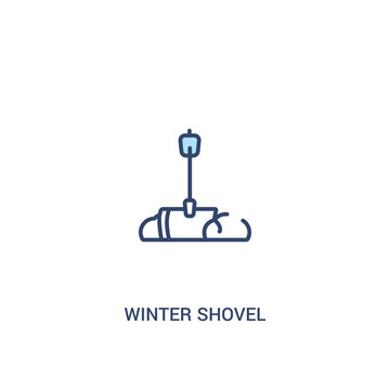 winter shovel concept 2 colored icon. simple line element illustration. outline blue winter shovel symbol. can be used for web and mobile ui/ux.