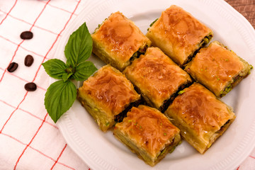 Turkish delights - baklava traditional sweets with sugar and coffee beans