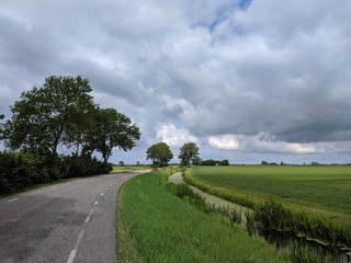Cloudy Frisian landscape
