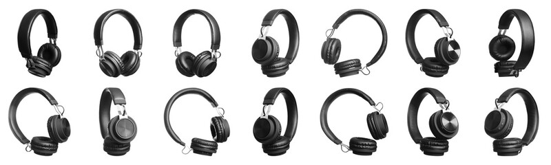 Set of modern black headphones on white background. Banner design